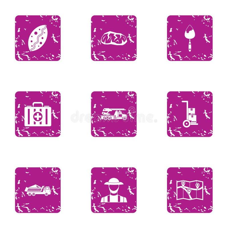 Exact direction icons set, grunge style. Exact direction icons set. Grunge set of 9 exact direction vector icons for web isolated on white background royalty free illustration