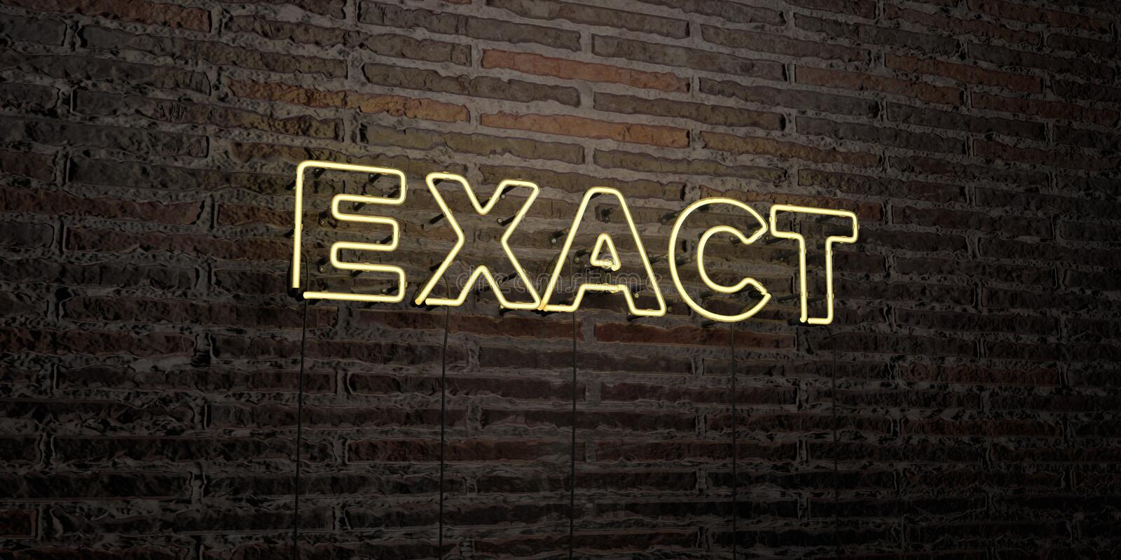 EXACT -Realistic Neon Sign on Brick Wall background - 3D rendered royalty free stock image. Can be used for online banner ads and direct mailers vector illustration
