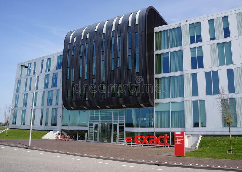 Exact Software Company in Delft, the Netherlands. Exact Software Company building and logo in Delft, The Netherlands stock image