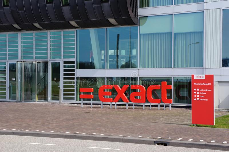 Exact Software Company in Delft, the Netherlands. Exact Software Company building and logo in Delft, The Netherlands stock photography