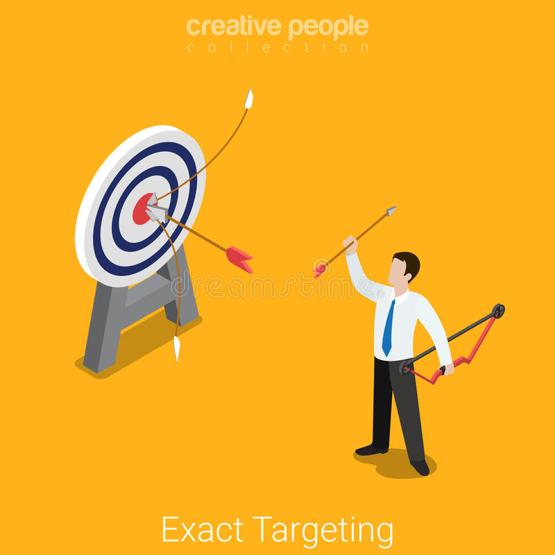 Exact targeting marketing business flat 3d vector isometric. Exact targeting flat 3d isometry isometric marketing market research product placement business stock illustration