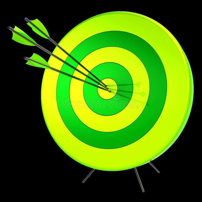 Exactitud del tiroteo del éxito de las flechas de la blanco que golpea concepto ilustración del vector