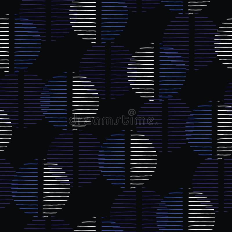 Exaggerated Dark Retro Geo Dots Vector Seamless Pattern. Large Modern Abstract Blue Black Circles on Cream Background stock illustration