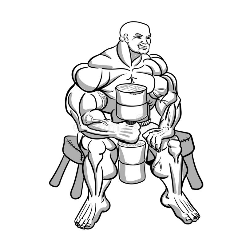 Exaggerated monster athlete, a bodybuilder sitting on the bench. vector illustration