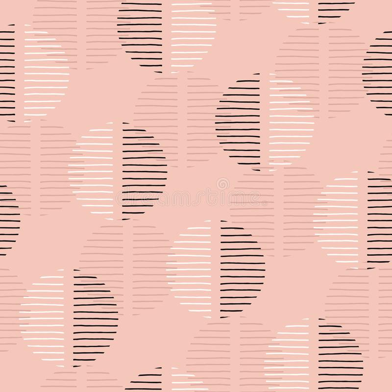 Exaggerated Retro Geo Dots Vector Seamless Pattern. Large Modern Abstract Dusty Pink Circles on Cream Background royalty free illustration