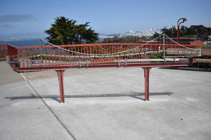 Welcome to the Golden Gate Bridge, how suspension bridges work, 3. Although exaggerated, this scale model of the Golden Gate Bridge shows how suspension bridges royalty free stock images