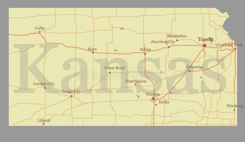 Exakt detaljerad statlig översikt Kansas för exakt vektor med gemenskap A royaltyfri illustrationer