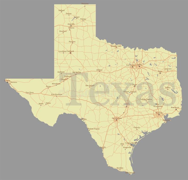 Exakt detaljerad statlig översikt Texas för exakt vektor med gemenskap som vektor illustrationer