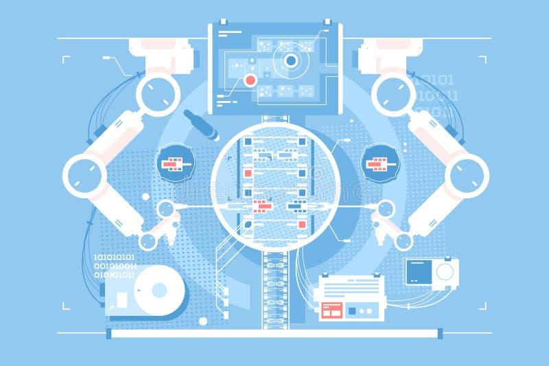 Exakt redigeringsrum med informationsteknik vektor illustrationer