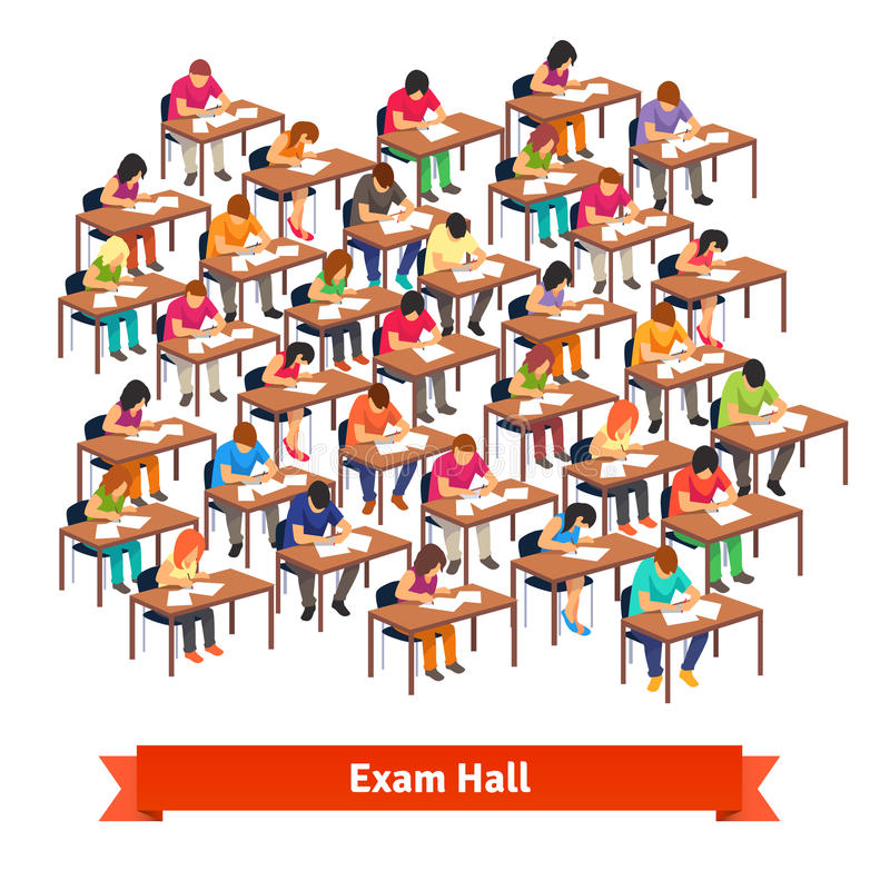 Exam classroom full of students writing a test royalty free illustration