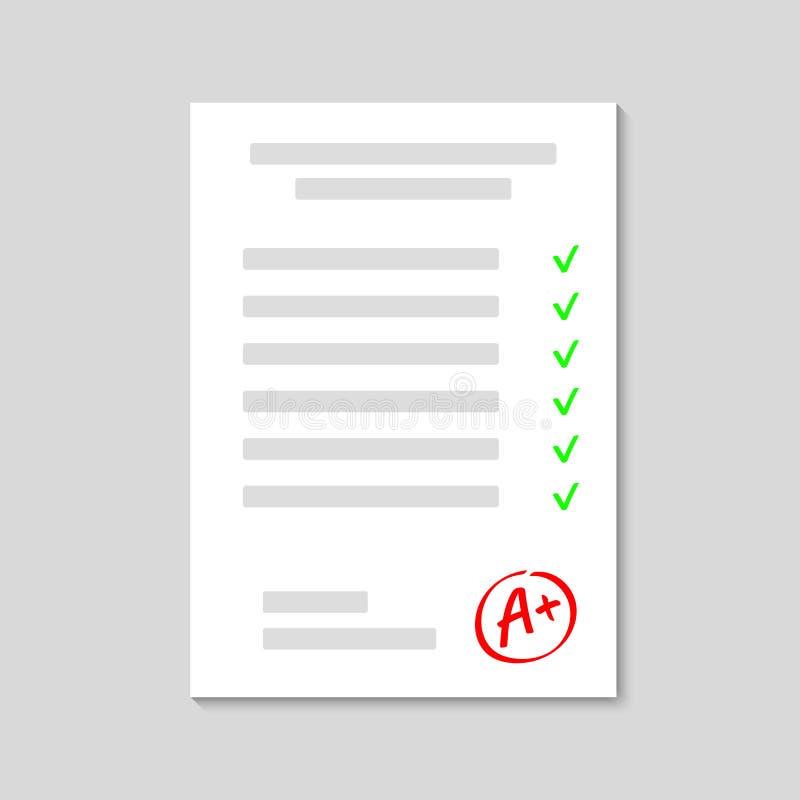 exam Folha do exame Resultado A da categoria Entregue a categoria tirada do vetor com sinal de adição no quadro do círculo Vetor ilustração stock