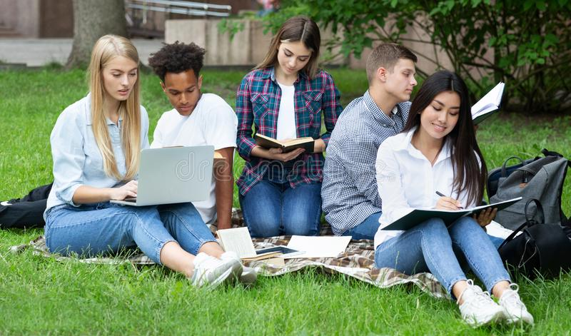 Exam preparation. Students studying in college campus royalty free stock photo