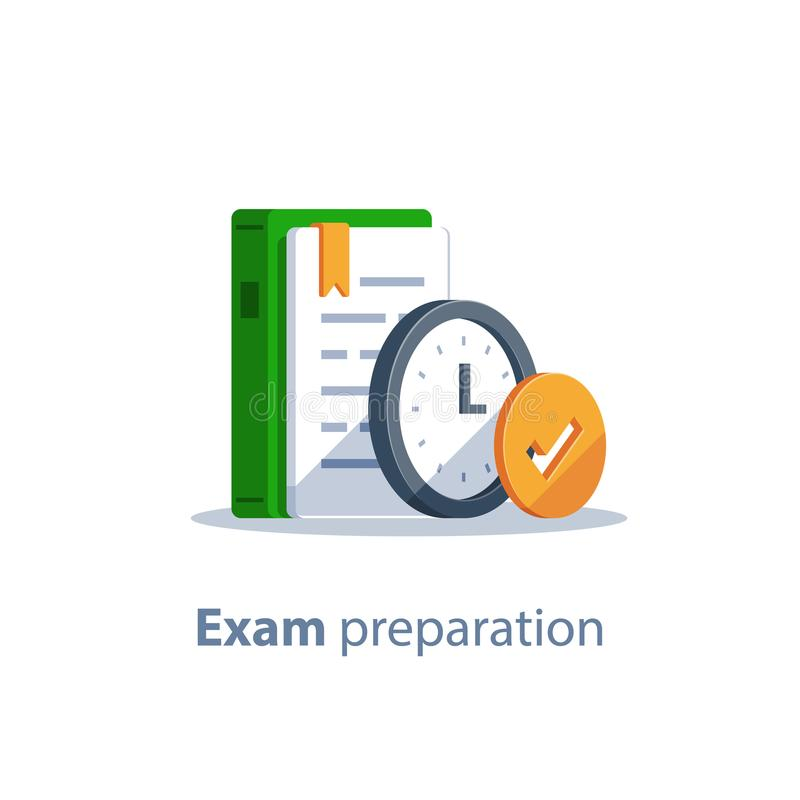 Assignment deadline, exam preparation, subject learning course, education concept, grammar book. Exam preparation, subject learning course, education concept stock illustration