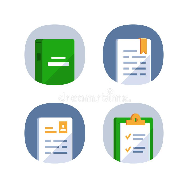 Reference book, exam preparation, subject learning course, assignment concept, book summary, application form, checklist clipboard. Exam preparation, subject vector illustration