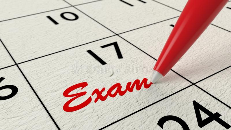 Exam reminder in calendar closeup with pen stock illustration