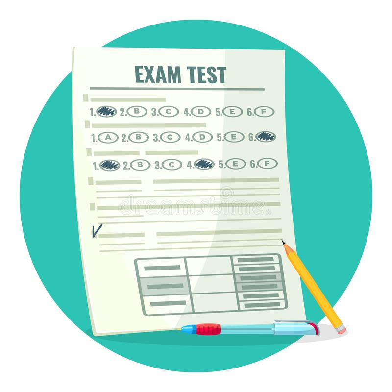 Exam test on paper with answers and pencil. Assessment of knowledge on paper and pen. Estimation of qualification isolated cartoon vector illustration stock illustration