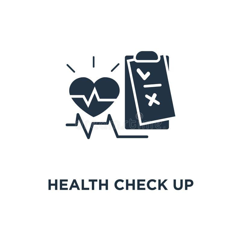 exame médico completo acima do ícone da lista de verificação teste da prevenção da doença cardiovascular, projeto do símbolo do c ilustração stock