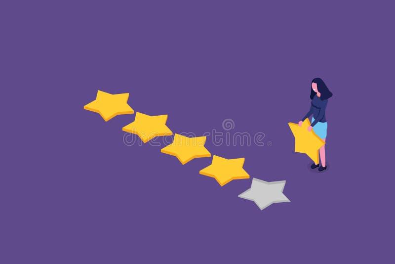 Examen de client, évaluation de facilité d'utilisation, rétroaction, concept isométrique de système de notation illustration libre de droits