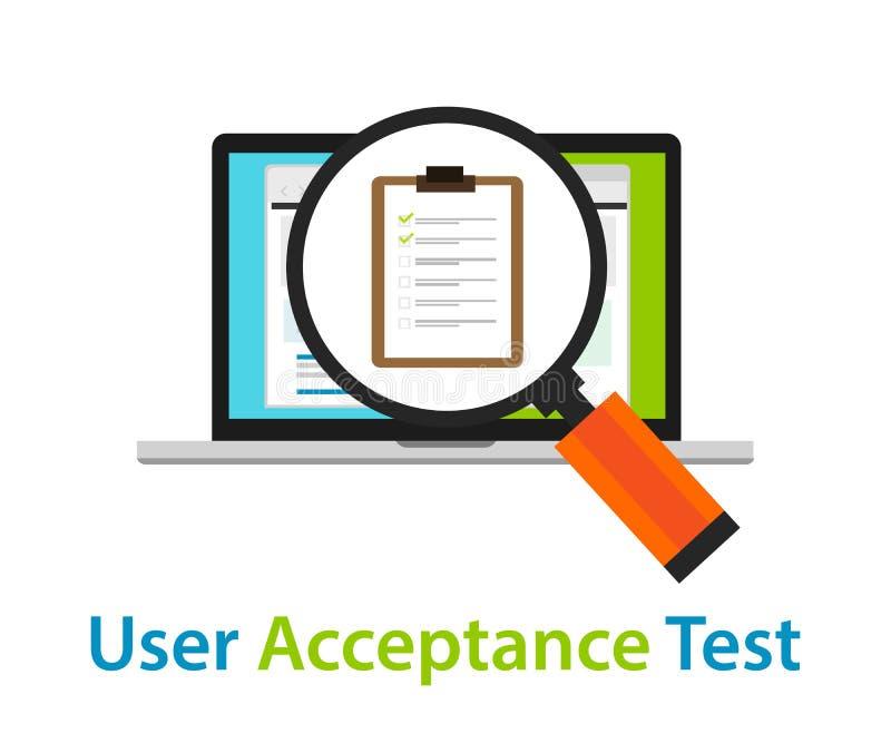 Examen de codage de processus d'approbation de garantie de qualité du logiciel de l'essai UAT d'acceptation par les utilisateurs illustration libre de droits