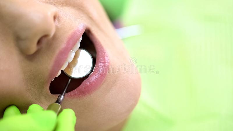 Examen de examen con el espejo de boca, odontología preventiva de los foreteeth del dentista imágenes de archivo libres de regalías