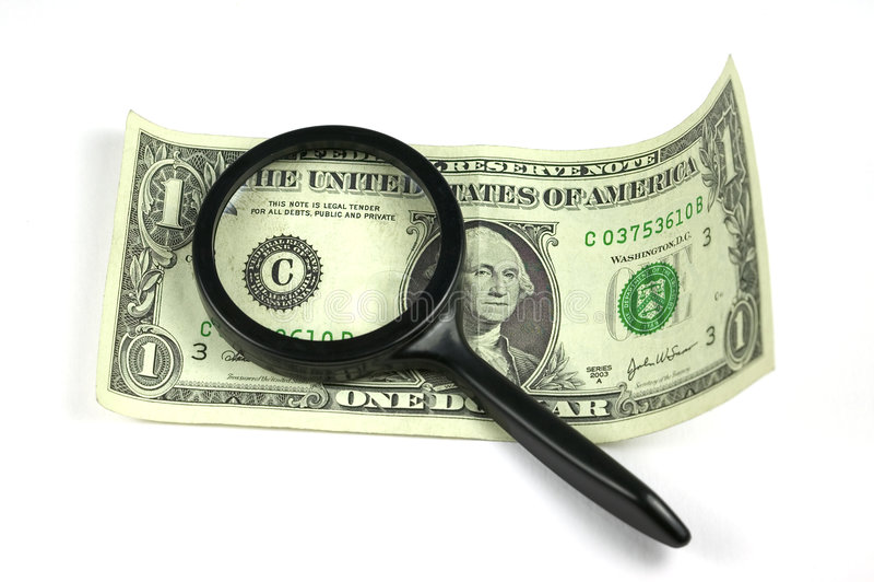 Examen del dólar foto de archivo