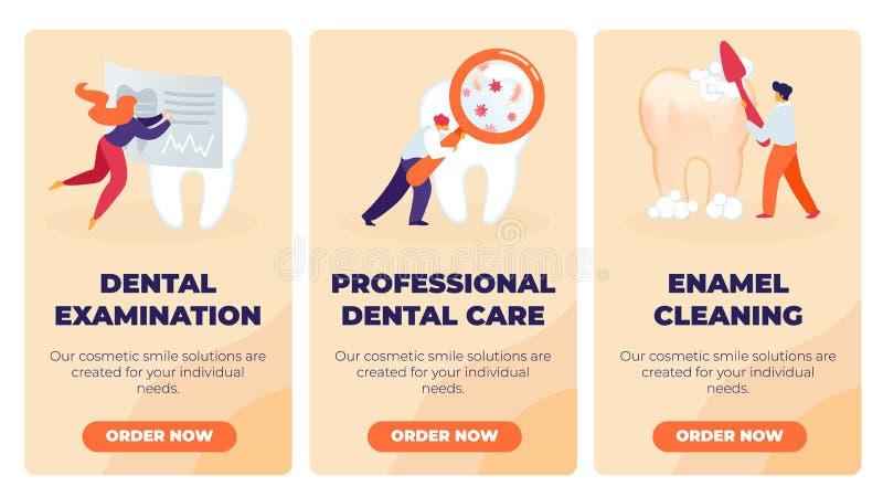Examen dentaire réglé, soins dentaires professionnels illustration de vecteur