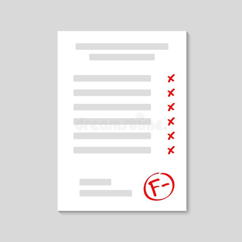 examen Feuille d'examen défaillir Résultat f de catégorie Catégorie tirée par la main de vecteur avec le minus en cercle Illustra illustration libre de droits