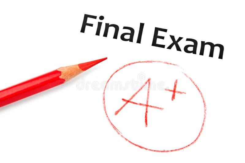 Examen final marcado con A+ fotografía de archivo
