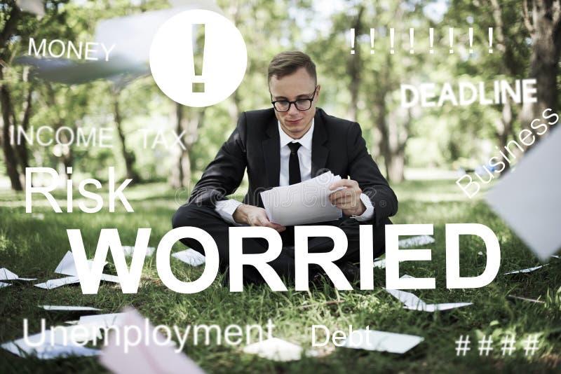 Examen inquiété Job Concept de problème d'effort photographie stock libre de droits