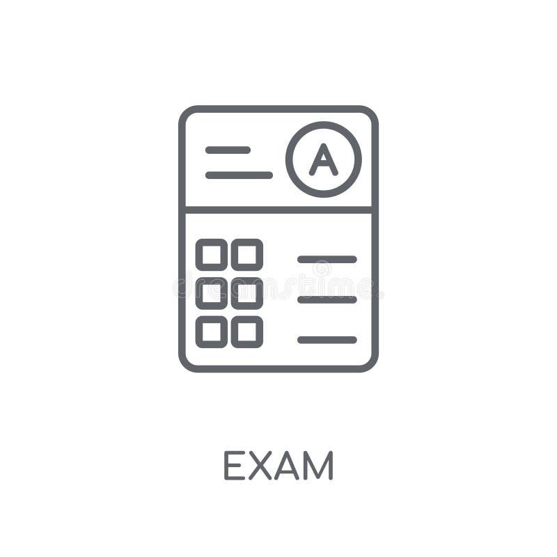 Examen lineair pictogram Modern het embleemconcept van het overzichtsexamen op witte rug royalty-vrije illustratie