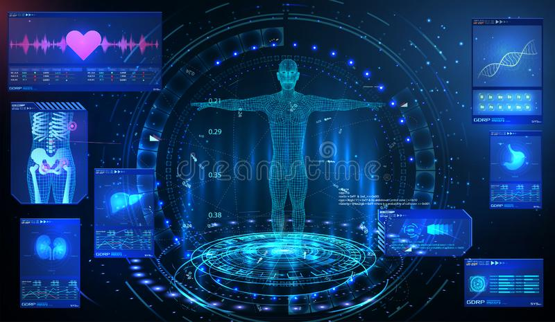 Examen médical d'ui d'élément de GUI de HUD UI Montrez un ensemble d'éléments virtuels d'interface Technologie de santé MRT futur illustration libre de droits