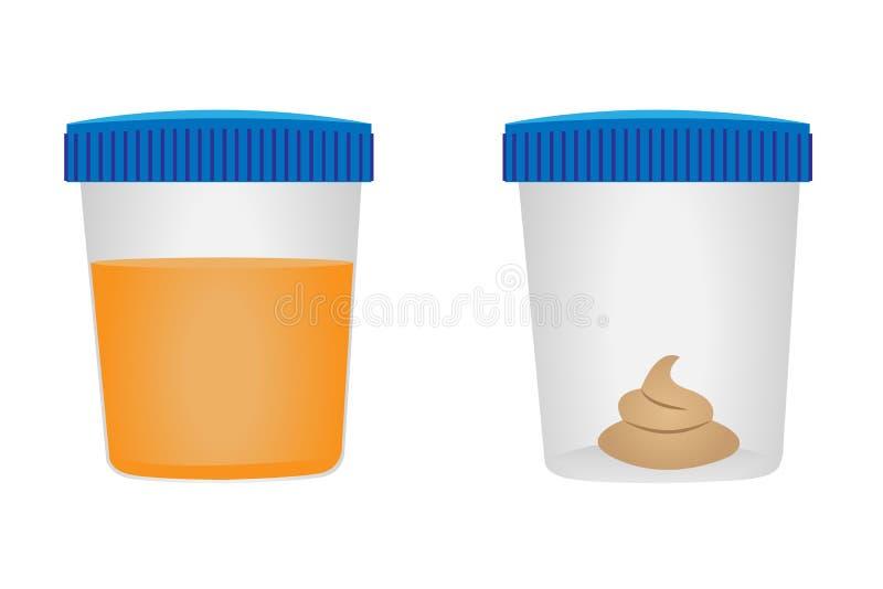Examen médico de la prueba del taburete y del urina stock de ilustración