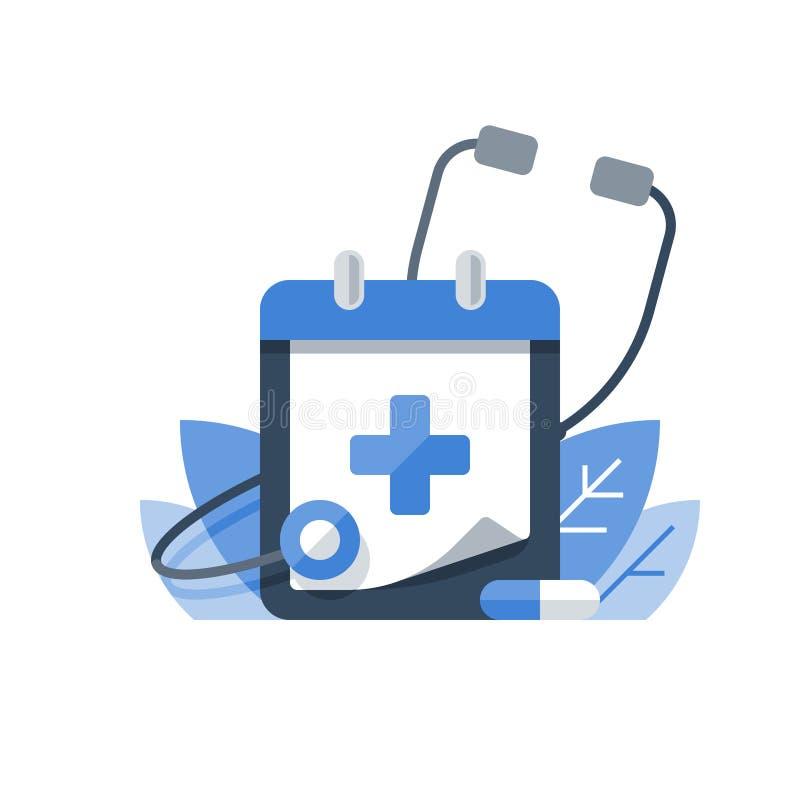 Examen préventif, programme de soins de santé, services médicaux, contrôle annuel  illustration stock