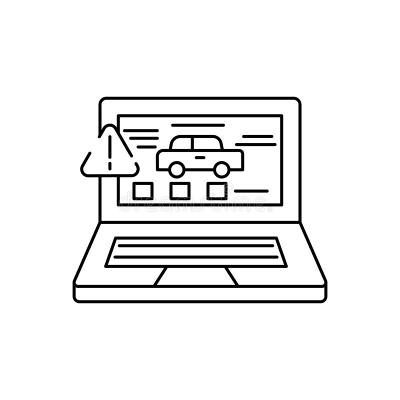 examen, voiture, icône de ligne d'ordinateur portable sur fond blanc illustration stock