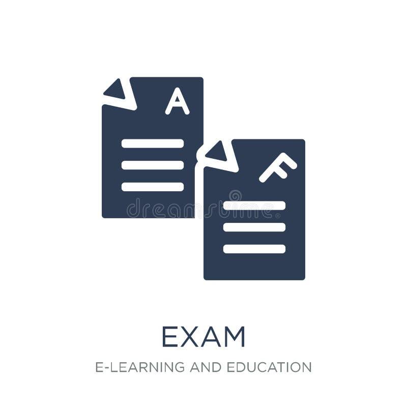 Examensymbol Moderiktig plan vektorexamensymbol på vit bakgrund från royaltyfri illustrationer