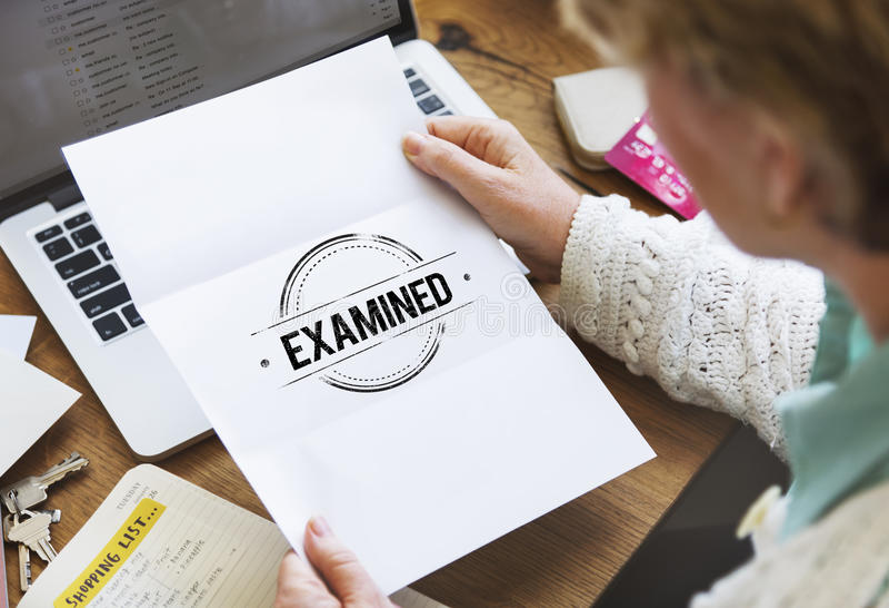 Examinado autorizado certificado verificado aprove o conceito fotografia de stock royalty free