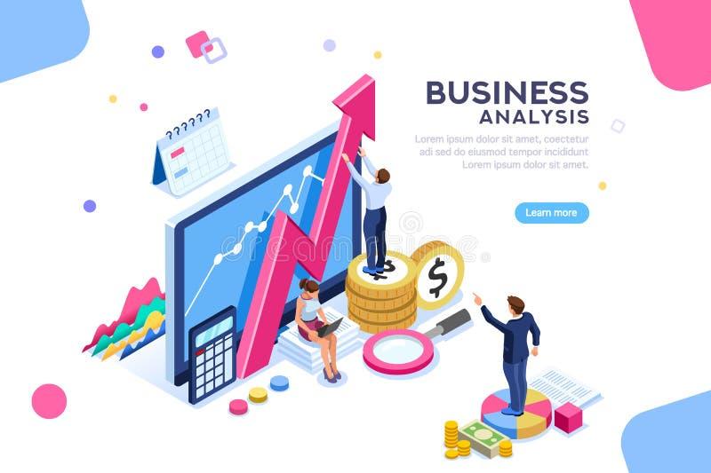 Examinando o conceito dos caráteres da análise de negócio ilustração royalty free