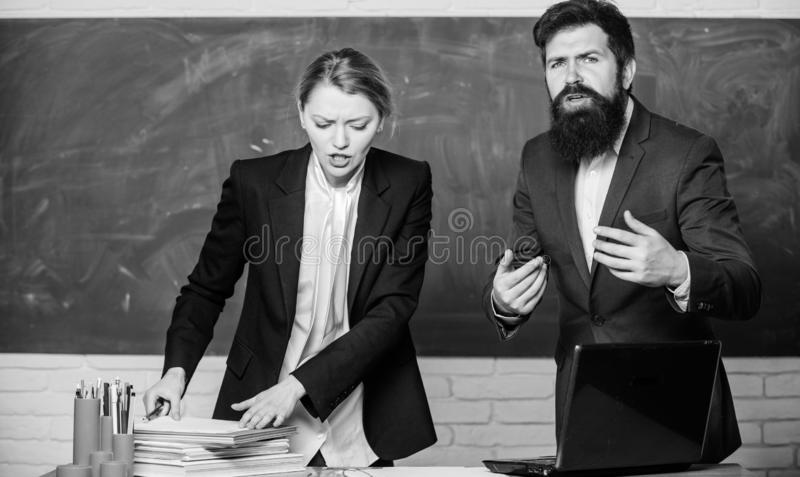 Examination board. College internship. Failed test exam. Failed exam. Meager knowledge of subject. Entering high school. Selection committee concept. Teacher royalty free stock photography
