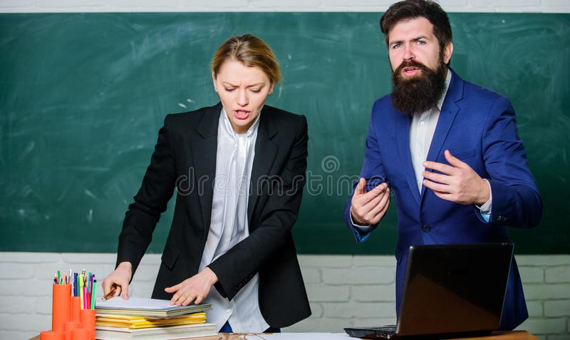 Examination board. College internship. Failed test exam. Failed exam. Meager knowledge of subject. Entering high school. Selection committee concept. Teacher royalty free stock photos