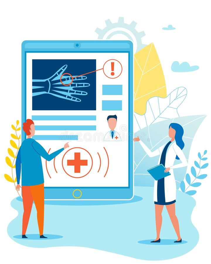 Online Doctor Consultation For Disabled Cartoon Stock