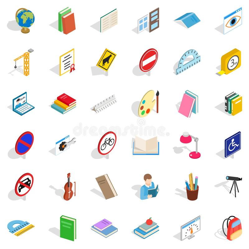 Examination icons set, isometric style. Examination icons set. Isometric style of 36 examination vector icons for web isolated on white background royalty free illustration