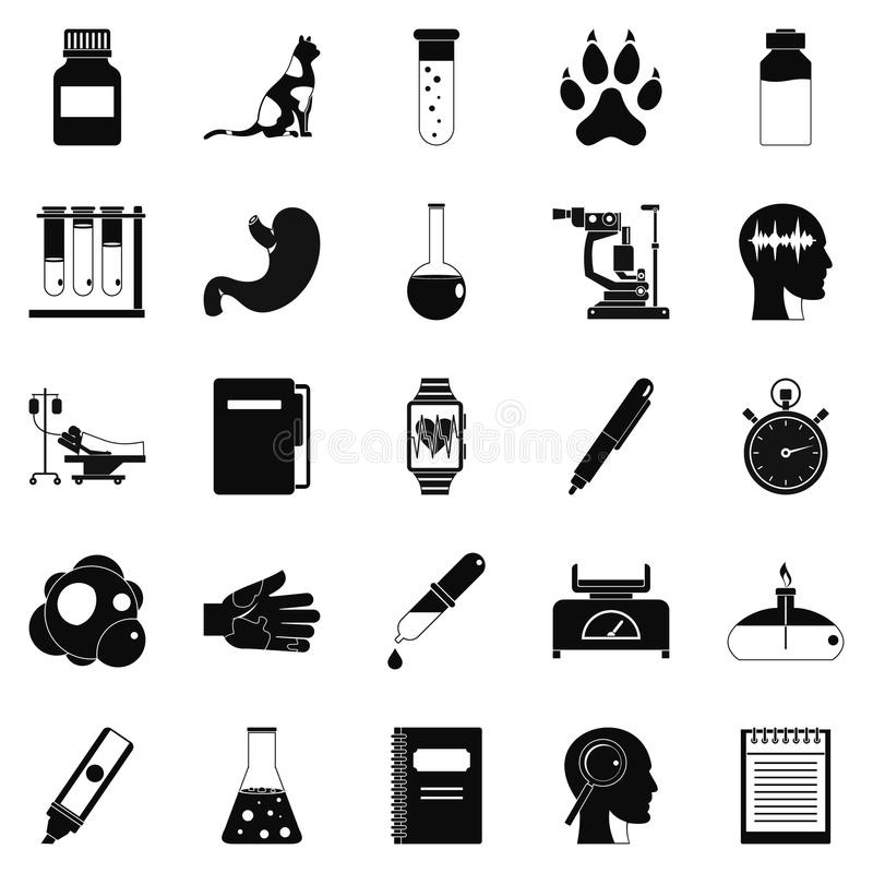 Examination icons set, simple style. Examination icons set. Simple set of 25 examination vector icons for web isolated on white background vector illustration