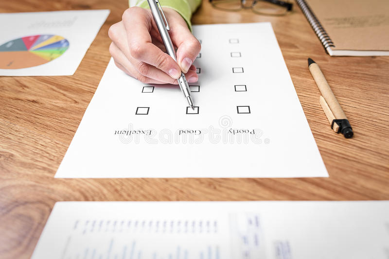 Examination paper on the office desk royalty free stock image