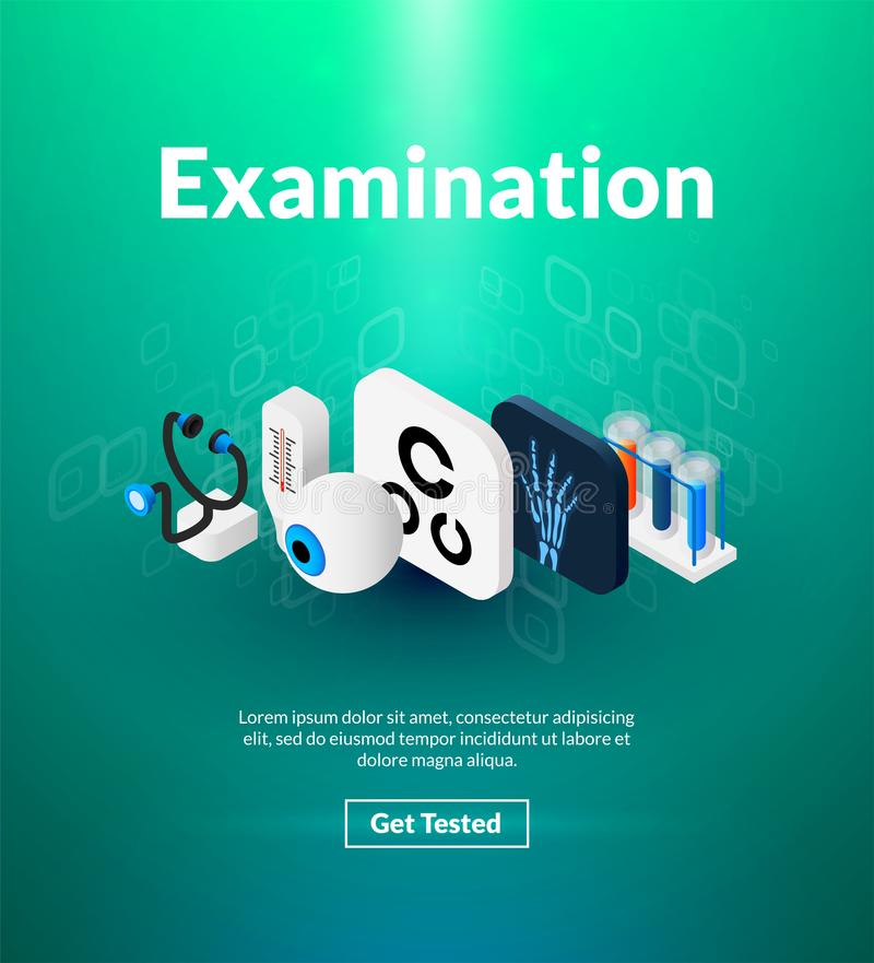 Examination poster of isometric color design. Medical concept vector illustration for web banners and printed materials, vertical portrait orientation royalty free illustration