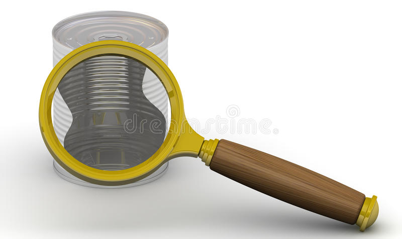 Examination tin content. Magnifying glass and tin. The concept of examination the contents of the cans. . 3D Illustration vector illustration