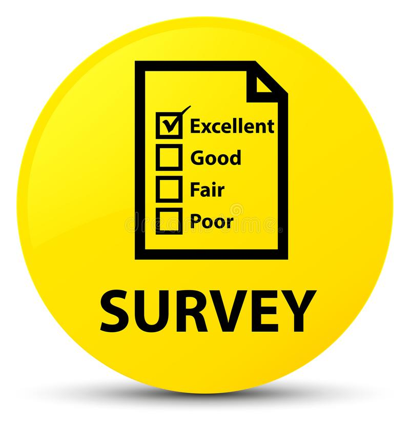Examine (el botón redondo del amarillo del icono del cuestionario) stock de ilustración