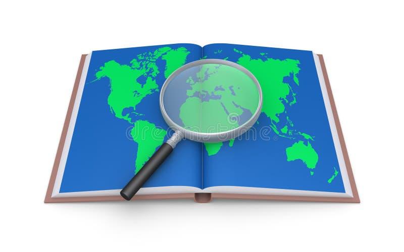 Examine el mapa del mundo con la lupa ilustración del vector