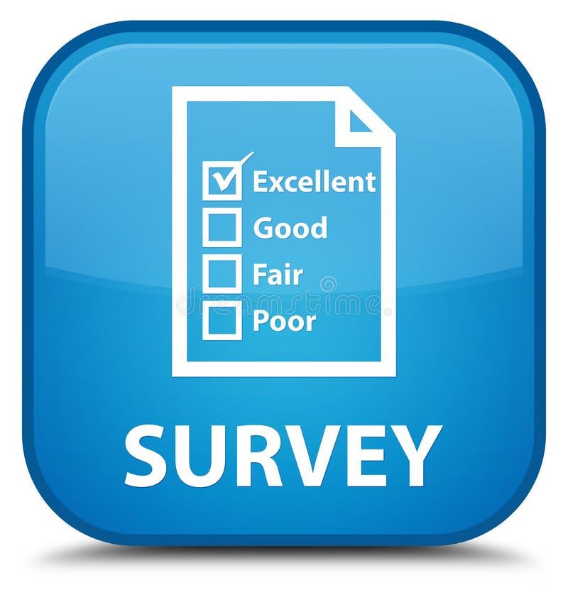 Examine (icono del cuestionario) el botón cuadrado azul ciánico especial stock de ilustración