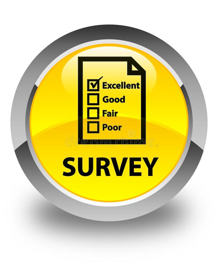 Examine (icono del cuestionario) el botón redondo amarillo brillante stock de ilustración