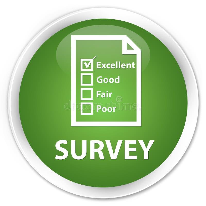 Examine (icono del cuestionario) el botón redondo verde suave superior stock de ilustración